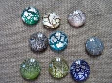 ezüst fóliás kabochon zöld