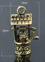 antik réz kerekeskút fityegő 2 db