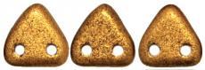 kétlyukú háromszög gyöngy: matt metál óarany 20 db