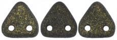 kétlyukú háromszög gyöngy: matt metál sötétbarna 20 db