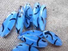 rizs alakú lapított kék azuro mintás gyöngy 2 db