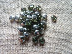 lencse alakú gyöngy black diamond-króm 30 db