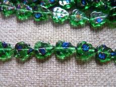 levél gyöngy zöld-pávaszem 5 db