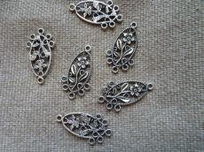 antik ezüst ovális virágos alap