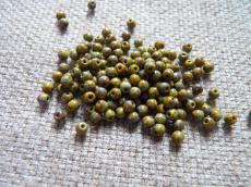 3 mm kerek gyöngy telt oliva-travertin 50 db