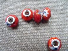 Pandora kristály gyöngy piros cirkás