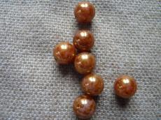 12 mm kerek gyöngy telt fehér-arany 4 db