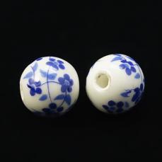 porcelán gyöngy kék apró virágos