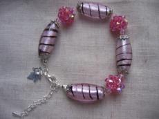 rózsaszín kristálygömbös-lámpagyöngyös karkötő