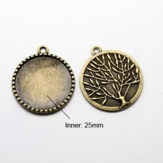 antik réz medál alap ragasztható fás