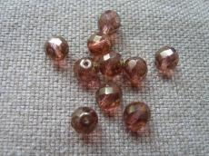 csiszolt gyöngy 10 mm kristály barnáspiros lüszterrel 5 db