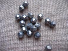 csiszolt gyöngy 6 mm: hematit 25 db