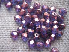 csiszolt gyöngy 6 mm: vega - lila bronz lüszteres 25 db