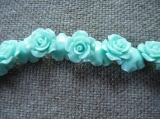 műgyanta rózsa világos türkiz 15 mm