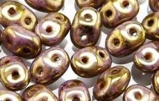 superduo gyöngy: arany-fehér lüszteres 10 g
