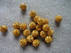 shamballa gyöngy aranysárga 12 mm