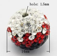 shamballa gyöngy fekete- bordó átmenetes 14 mm