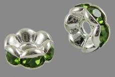 strasszos rondell 6 mm: peridotzöld