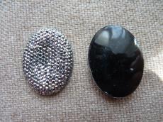 akril ragasztható ovális fekete