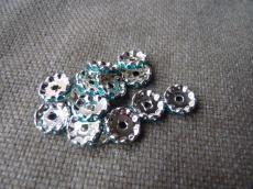 strasszos rondell 12 mm: türkizkék