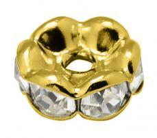 strasszos rondell 5 mm: áttetsző-arany