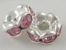 strasszos rondell 8 mm: rózsaszín