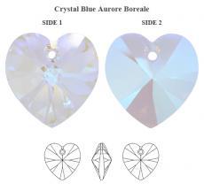 10 mm szív függõ crystal blue AB Xilion