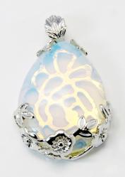 opalit csepp medál virágos