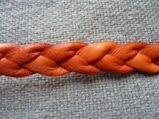 13 mm fonott bőr karkötő alap narancs 1 cm