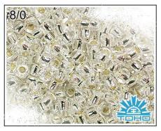 Toho 8/0 ezüst közepű kristály 10 g