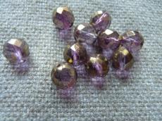 csiszolt gyöngy 10 mm lila-bronz lüszteres 5 db