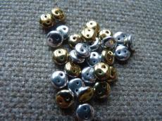 kétlyukú lencse metál arany/ezüst 20 db