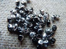 superduo gyöngy: fekete-ezüst 10 g