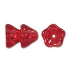 virág alakú gyöngy nagyobb áttetsző piros 5 db