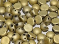matt arany kétlyukú cabochon 6 mm 10 db