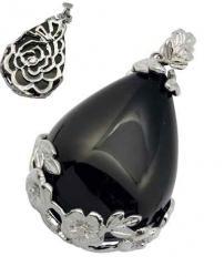 fekete lámpagyöngyös csepp medál virágos