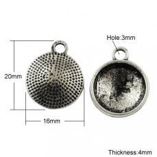 antik ezüst medál alap ragasztható 14 mm