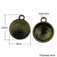antik réz medál alap ragasztható 14 mm