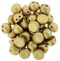 matt metál arany kétlyukú cabochon 7 mm 10 db