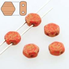 honeycomb gyöngy: arany lüszteres telt piros 30 db