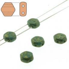 honeycomb gyöngy: arany lüszteres telt türkizzöld 30 db