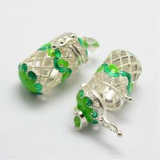 Angyalhívó medál zöld filigrán henger