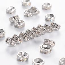 strasszos rondell rozsdamentes acél 8 mm: áttetsző