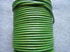 3 mm bőrszál arany metál zöld 5 cm