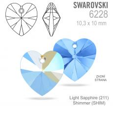 10 mm szív függő light sapphire shimmer