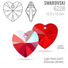10 mm szív függő light siam shimmer