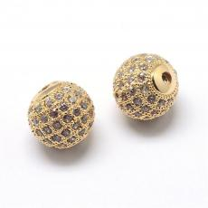 cirkonia kerek köztes 1 db arany 8 mm