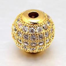 cirkonia kerek köztes 1 db arany 6 mm