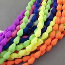 csepp alakú gyöngy 7 mm: bevonatos 10 db neon narancs