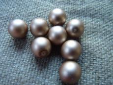 12 mm kerek gyöngy matt gyöngyház tejeskávé 5 db